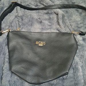Bcbg Black Cobble Leather Handbag